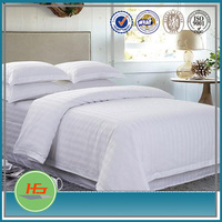 King Size Hotel White Satin Stripe Polyester Cotton Flat Bedding Set