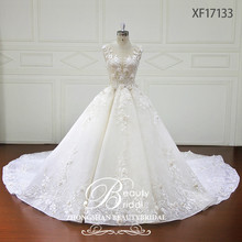 hot sale newest design luxury beading ball gown lace wedding dress with pretty flowers bridal gown 2017