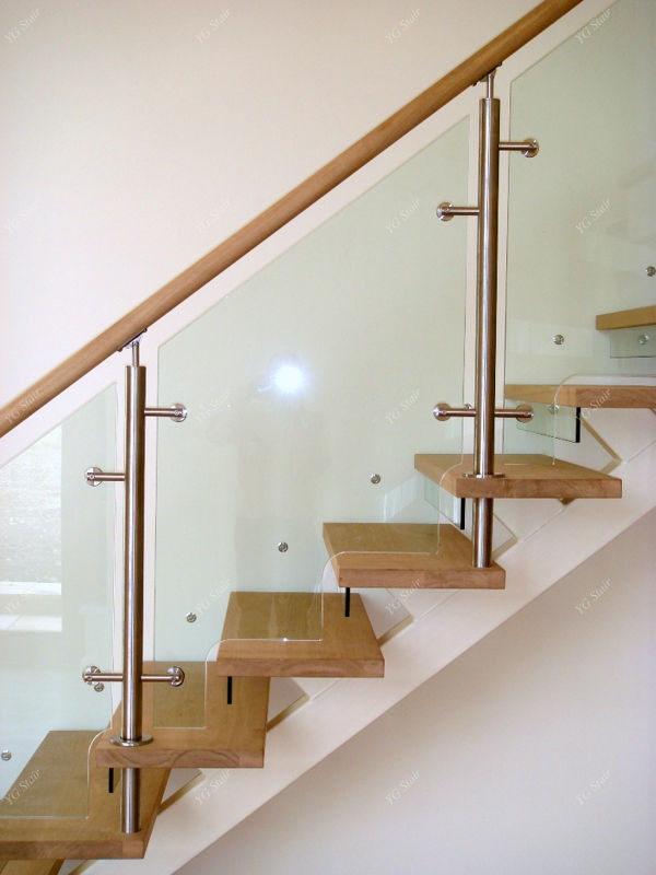 Luxury Clear Tempered Glass Wood Stairs Interior YG9001-19b