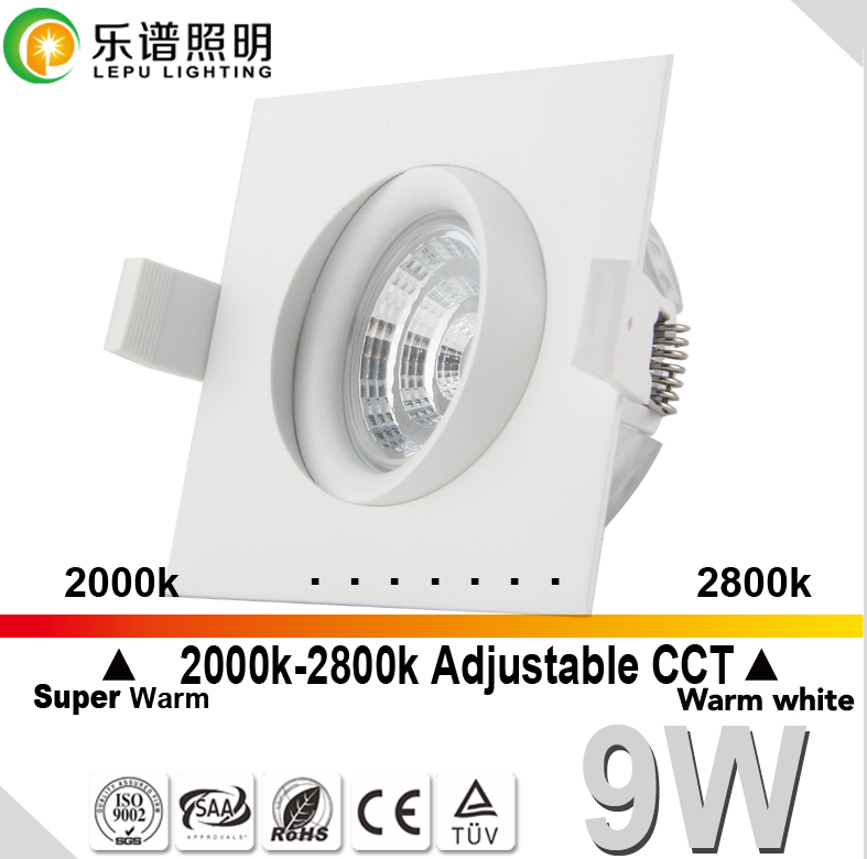 gyro 68mm cutout dim warm 2000k-2800k cob led downlight 0-100% dimmable 7w IP44 with elko