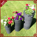 Set of 3 stackable outdoor large size waterproof plastic rattan garden flower pot