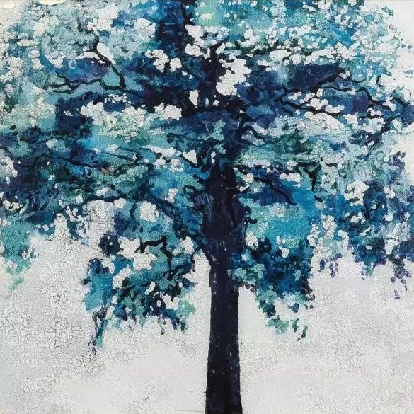 Handmade Abstract Blue Tree Contemporary Art Paintings