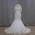 high quality off shoulder lace pearl beading short sleeve bridal wedding gowns