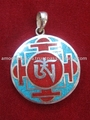 Silver Pendant- Buddhist Turquoise Om Silver Pendant Tibetan Nepal