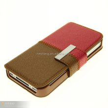 wallet case for iphone 5, phone case, for i phone 4 case dual color leather case