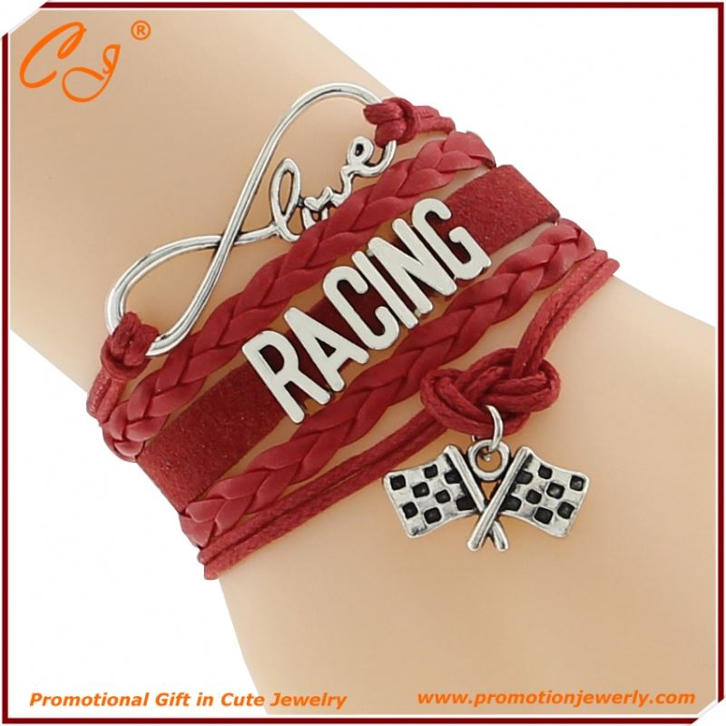 Racing Flag Red Love Fashion Cord Hand Link
