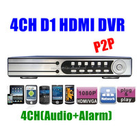 P2P Security 4CH H.264 D1 Realtime Recording 1080P HDMI Network CCTV DVR video recorder 4ch Alarm Audio PTZ Control