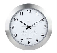 14'' Multifunction wall clock metal case with temperature and humidity
