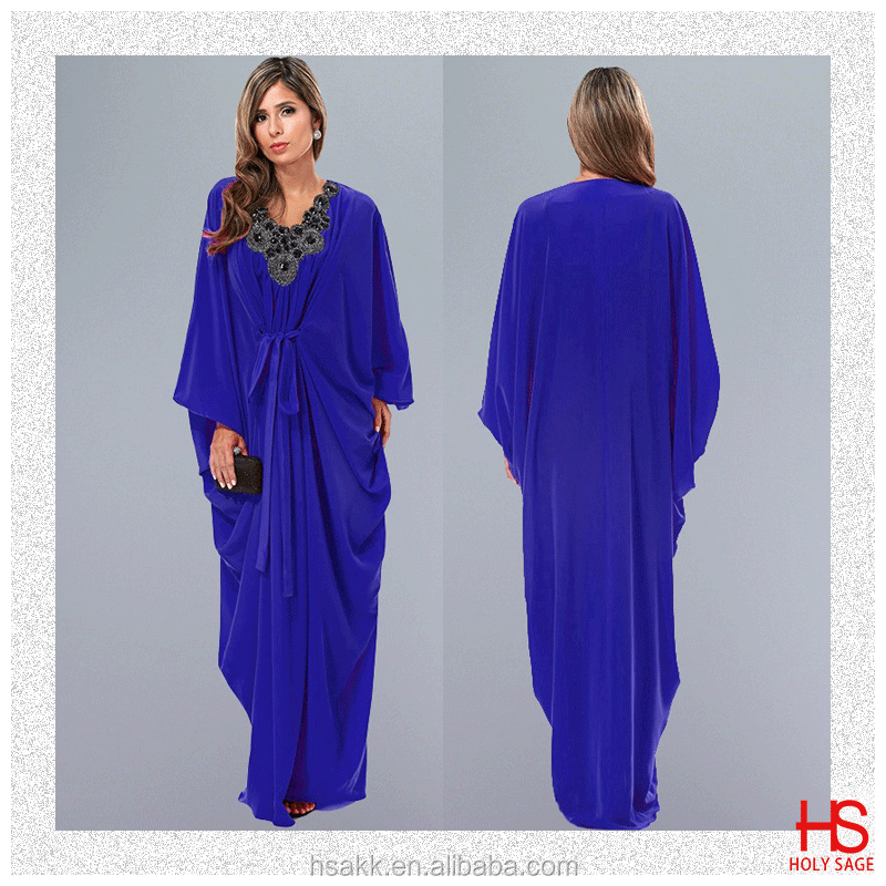 OEM Service Supply Type Royal Blue Beaded Moroccan Dress Kaftans For Sale