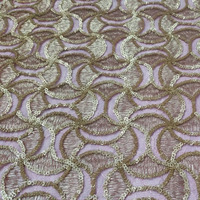 2015 newest style sprinkling gold sequin embroidery fabric for Home Textile