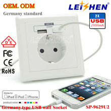 On -Off Operations Exceed 40000 times New Europe 220V French Type Schuko Type USB Wall Socket with Earth Contact