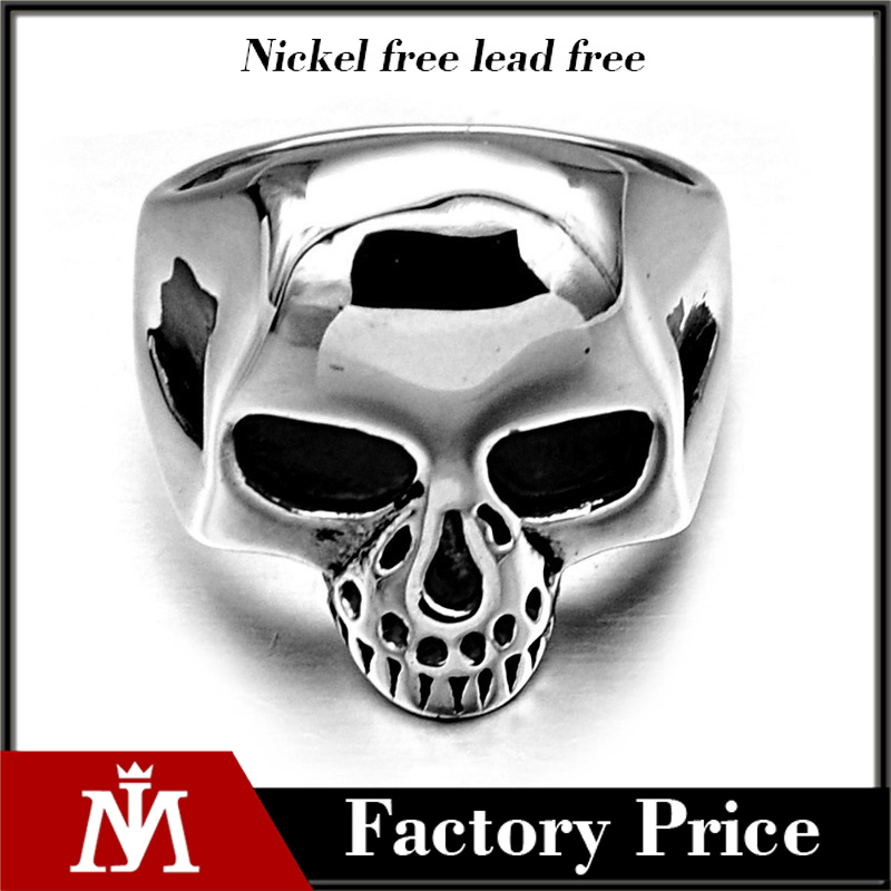 Personality Mens Stainless Steel Casting Wedding Band Silver Antique Skull Rings