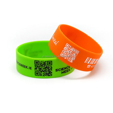qr code print advertising cheap custom cool silicone bracelet