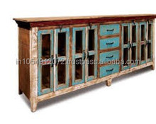 Reclaimed Wood Glass Cabinet Storage 3 Drawers