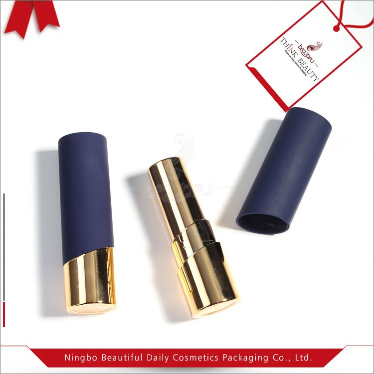 Top selling shiny gold&blue 22.1mm H 75.1mm empty lipstick case/tube/container