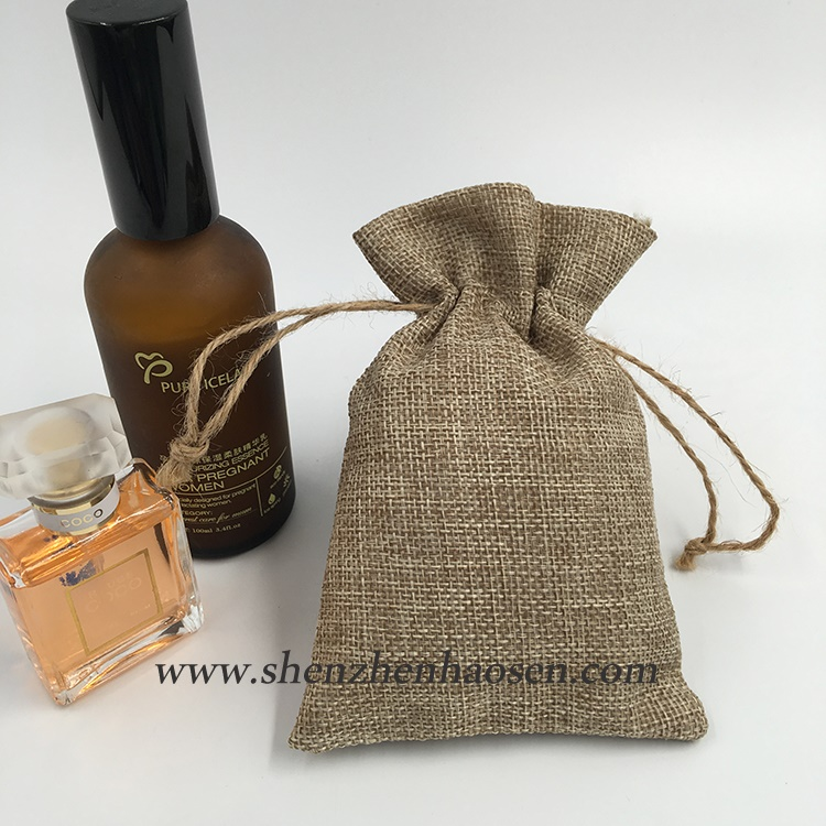 Fashion Custom Drawstring Easy Burlap Makeup Essential Oil Bag