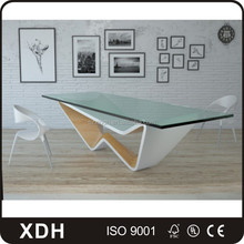 Modern design glass double sided computer office furniture desk