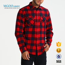 Winter quilted flannel mens dress shirt Black and red check shirts Regular fit custom designs shirt wholesale