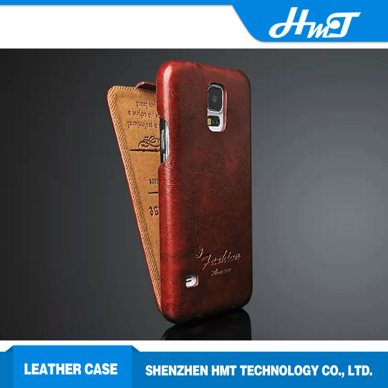 Retro style up and down design leather flip cover mobile phone cases for Samsung galaxy S5
