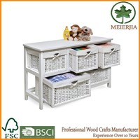 amazon hot sale wood table with wicker drawer