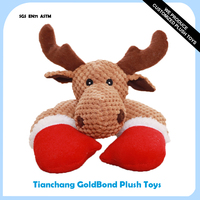 Factory Supply Plush Stuffed Soft Animal Christmas Deer Squeaky Pet Toy
