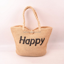 promotion wholesale beach tote bag paper straw beach bag