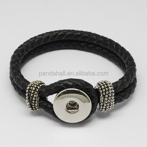 Braided Leather Cord Interchangeable Press Button Bracelet Fit 4x6mm Shank Snaps(AJEW-<strong>R022</strong>-04)