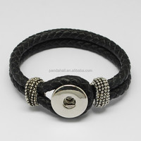 Braided Leather Cord Interchangeable Press Button Bracelet Fit 4x6mm Shank Snaps(AJEW-R022-04)