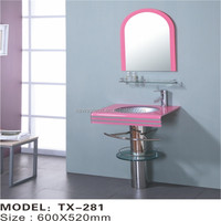 New floor standing decorative glass bowl wash basin with stand