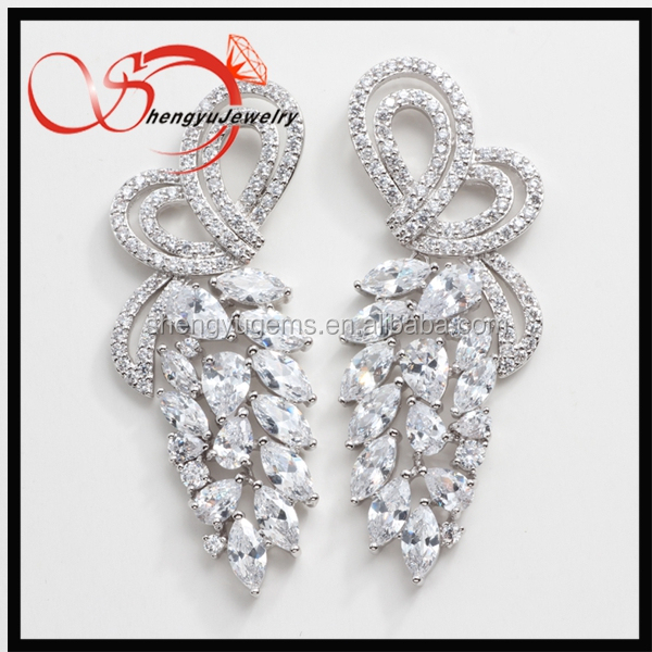 Fashion Fancy copper Jewelry AAA+ Cubic CZ Diamond Wedding Drop Earring
