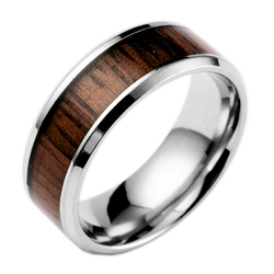 Beichong brand bulk sale wholesale stainless steel wooden color design ring stainless steel jewelry