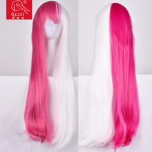Girls Party Long Straight Pink Wigs Costume Cosplay USA