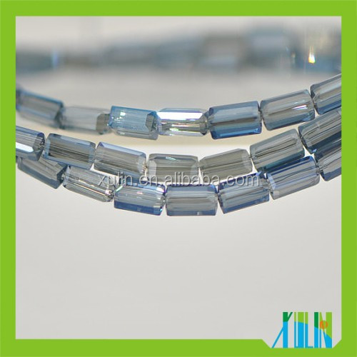 Jewelry Type Long Cube Crystal Glass Faceted Stick Beads