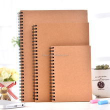 Recycle brown kraft paper blank cover spiral notebook with blank pages