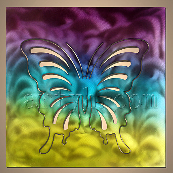 Modern handmade abstract painting butterfly metal wall art
