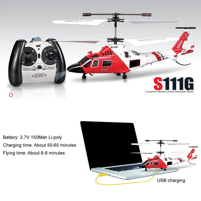S111G Mini Coast Guard Rescue 21mm 3.5CH Indoor RC Helicopter with Gyro, Electric Helicopter RC Toys