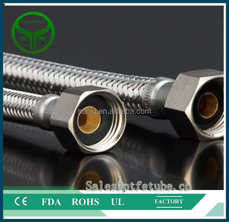 Corrugated PTFE <strong>Hose</strong> with Stainless Steel Braided Cover and fitting on...
