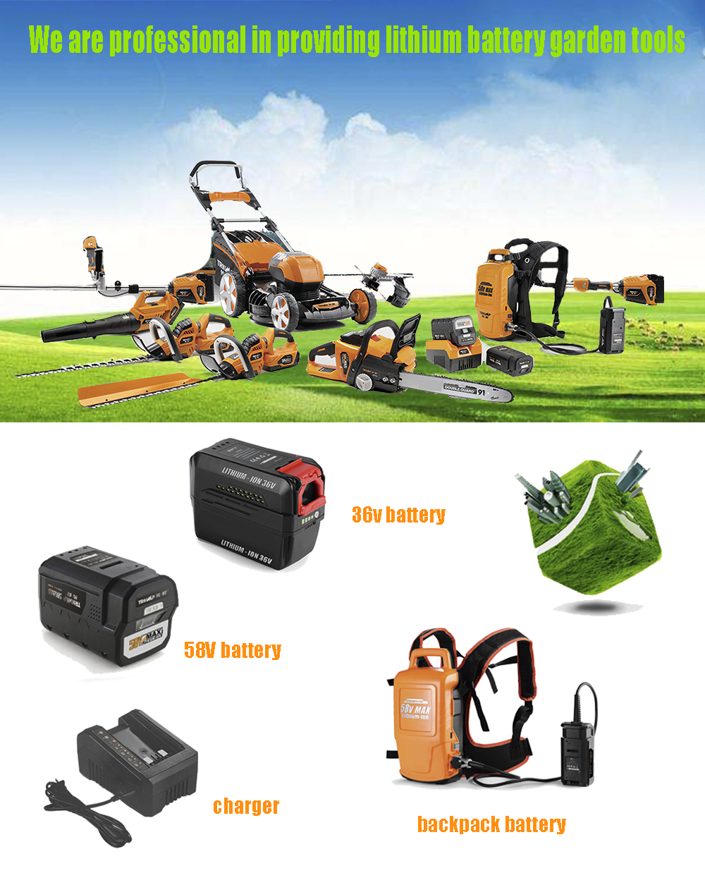 Cordless 36V Li-ion Battery Max Front Mount Motor Brush Cutter Bare Tools For Garden