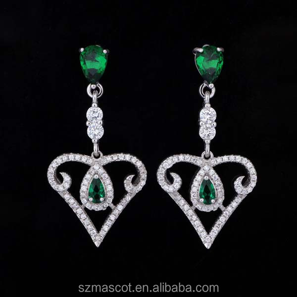 Green Stone Heart Shape Drop Fashion Crystal Earrings Wholesale