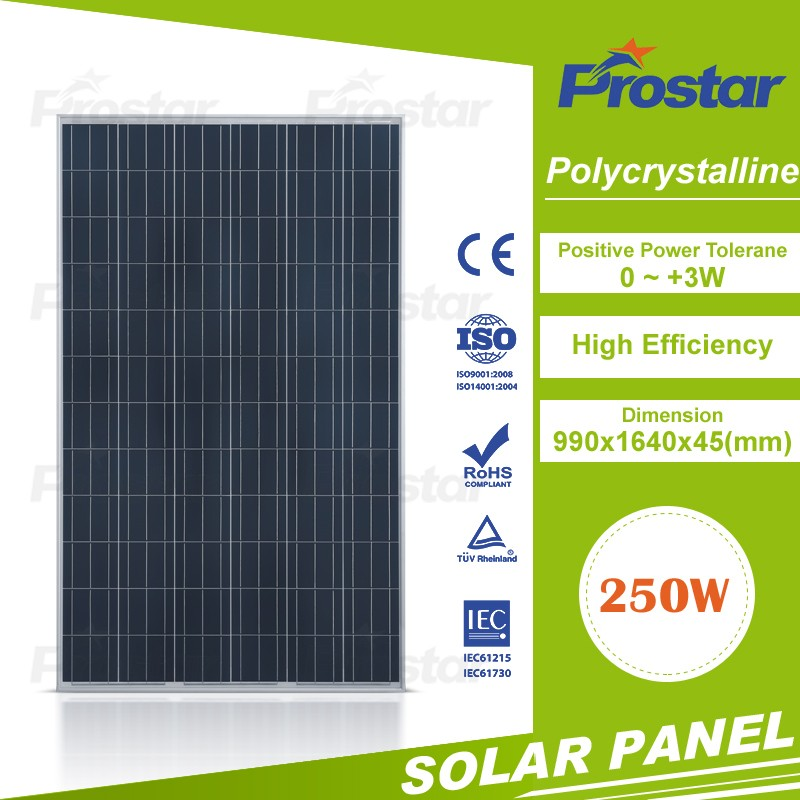 High efficiency low price 12v solar panel 250w photovoltaic panel for 220v solar system