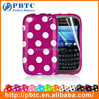 Set Screen Protector And Case For Blackberry 9320 , Polka Dots Gel TPU Custom Case Cover
