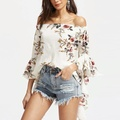 off shoulder ruffle sleeve floral print chiffon blouse