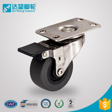 Plain bearing swivel wheels with lock 50 mm PU on PP small furniture caster