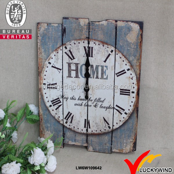 vintage old style crafts distressed square custom wooden wall clock