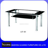 modern tempered glass stainless steel four legs coffee table for sale