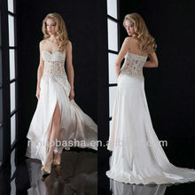 White Transparent Applique Lace/Satin Sweetheart Front Slit Court Train Prom Dress/Wedding Gown