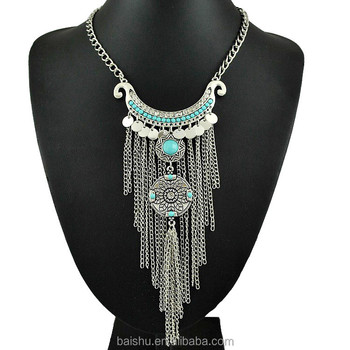 Bohemian Vintage Pendant Necklace Antique Silver Stone turquoise Jewelry Long Tassel Necklace Statement Necklace For Women