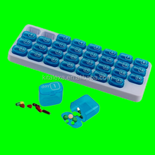 KA-PB000167Plastic Medicine Pill Storage Organizer 31 Day Monthly Pill Box With Pop-out Compartment Pods