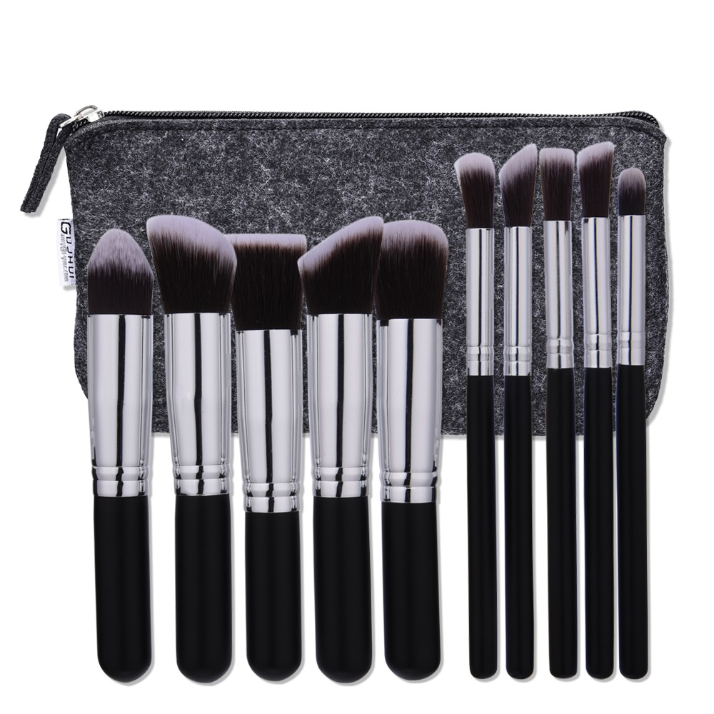 Stock 10pcs professional soft cosmetics makeup brush suit women's kabuki brush outline brush