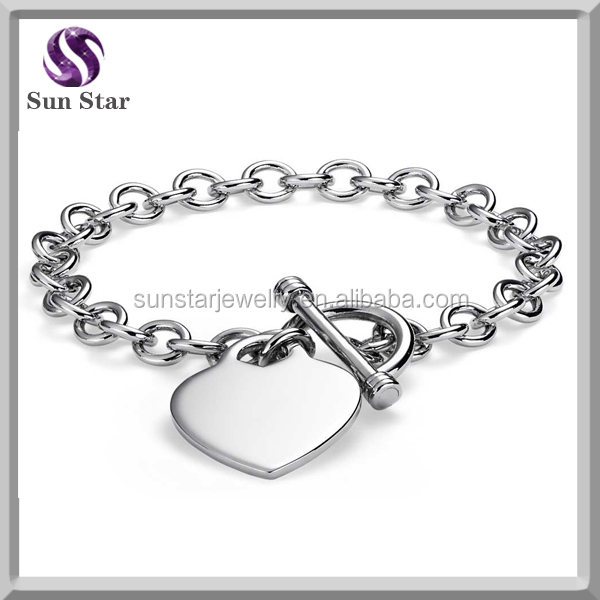 925 sterling silver heart tag handmade diy charm bracelet with clasp